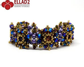 Tutorial Zara Bracelet - Beading Tutorial, Jewelry Tutorial, Instant download, Beadwoven bracelet, Design by Ellad2