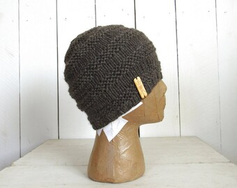 Fitted Wool Hat Hand Knit Beanie Winter Woodland More Color Options
