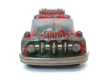 Vintage Fire Truck  /  Hubley Kiddie Tot  /   Pressed Steel Toy  /  Made in USA  /  Red Firetruck  /  Metal Vehicle for Craft or Repurposing