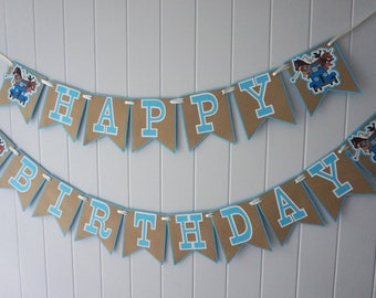Little Blue Truck Birthday Banner - MADE TO ORDER