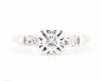 Mid Century Diamond Engagement Ring, Vintage 14K White Gold 0.20 ctw Single Stone Ring.