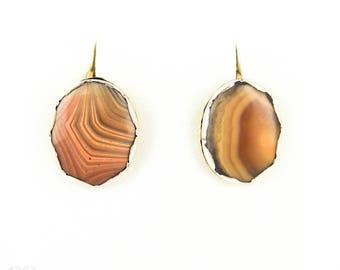 Antique Agate Earrings, Victorian Pink Banded Agates in Silver Collets with 9ct Gold Backs.