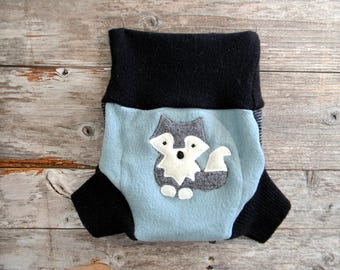 Upcycled Wool Soaker Cover Diaper Cover With Added Doubler Seafoam Blue/Gray/ Black With A Wolf Applique LARGE 12-24M Kidsgogreen