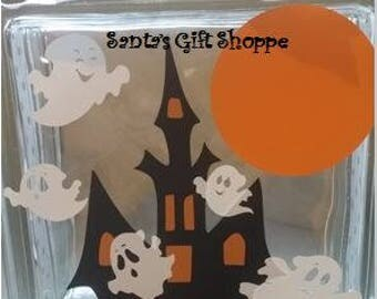 Halloween Decals -Haunted House/Cute Ghosts -Glass Block Lettering-Glass Block Crafts-approx.6.5in.x 6.5in-Fall/Autumn Harvest-Home