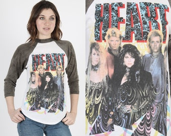 Heart T Shirt Heart Band Tee Rock T Shirt Concert T Shirt Concert Tee Vintage 80s Heart World Tour Concert Hard Raglan Thin Tee T Shirt M