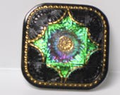 Czech Handmade Glass Button, Black with Green Purple Gold
