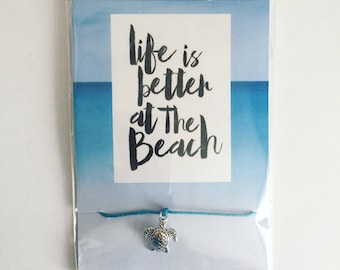 Life Is Better At The Beach - Turtle Friendship Bracelet