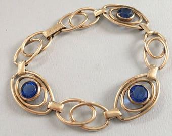 Art Deco Jewelry, Vintage Jewelry, Sturdy Brand Bracelet, Blue Rhinestone Minimalist Bracelet, Modern Bracelet, 20s 30s Art Deco Bracelet