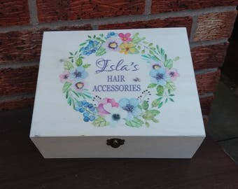 Hair accessories little girl childs box personalized wooden keepsake memory box birthday gift