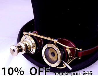 Steampunk goggle IRIS APERTURE and Telescopic Telescope Brass LARP Brown