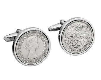 Mens wedding cufflinks - Genuine English lucky Sixpence -  Includes presentation box - 100% satisfaction - 3 day delivery option