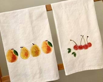 Pears Cherries Radish Beet Pineapple Rooster Flour Sack Kitchen Towel Select Set of 2 Cotton Natural Organic Farm to table Kitchen Decor Gif