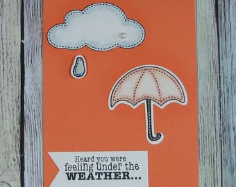 Handcrafted umbrella get well card in orange--CB81217-15