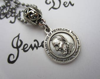 St Padre Pio Medal Necklace, Patron Saint for Pain - Healing - Suffering - Catholic Religious Gift