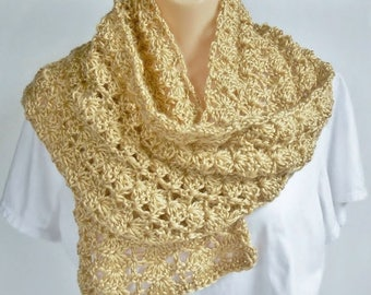 SALE Long Beige Scarf Tan Brown Lacy Crochet Handmade Feminine Fashion Accessory for Women