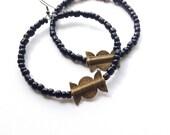 Large tribal hoop earrings- Masai inspired earrings- seed bead earrings// The Eryka earrings
