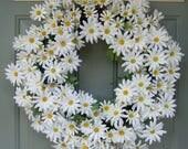 Daisy Wreath Summer Daisy Wreath Daisy Door Wreath Farmhouse White Daisy Wreath