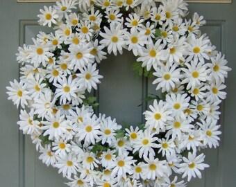 Summer Wreath - Spring Daisy Wreath - Summer Daisy Door Wreath
