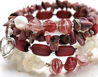 Moonstone Bracelet Pink Rhodonite Stone Bracelet Betel Nut Beads Genuine White Pearls Gemstone Sterling Silver Wrap Bracelet Heart Charms
