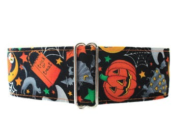Halloween Martingale Collar, 2 Inch Martingale Collar, Trick or Treat Martingale, Orange and Black, Halloween Dog Collar