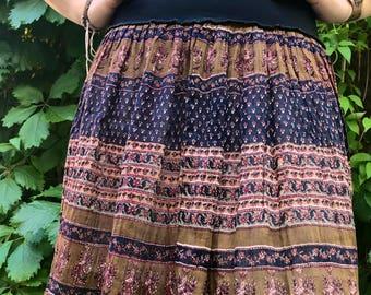 Eco Mini SKIRT, Size S/M, boho clothing, hippie clothing,festival skirt, india gauze mini skirt, folk  skirt,paisley print skirt,  Zasra