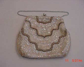 Vintage Sequin Faux Pearl & Glass Bead Evening Purse  17 - 797