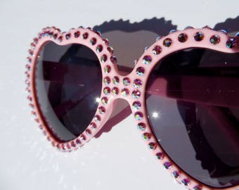 Light Pink Heart Shaped Sunglasses Covered With Iridescent Rose Rhinestones