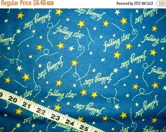"""Flannel fabric with stars, Catch a Falling Star cotton print quilters sewing quilting material 29"""" fabric remnant shooting star"""