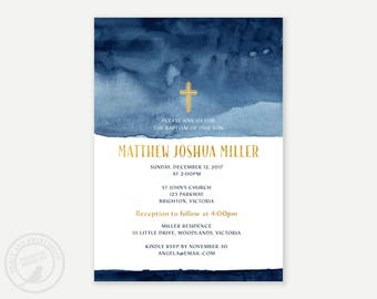 Navy Watercolour Baptism or Christening Invitation, Boy Watercolor Baptism, Christening Invitation,  Printable, Digital, 9025