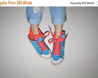 On SALE 35% Off - Adidas 1990s Vintage NEON Blue Colorblock Graphic Hightop Fold Over Sneakers Running Shoes -  Vintage 90s Neon Runners  -
