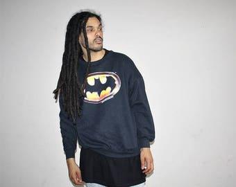 On SALE 35% Off - Batman 1989 Black Bat Symbol Logo  Oversize Hip Hop Sweatshirt - Batman Vintage - 90s Clothing - 50 50 Cotton Poly - MV042