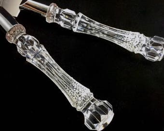 Faux Crystal Server Set, Engraved & Handpainted