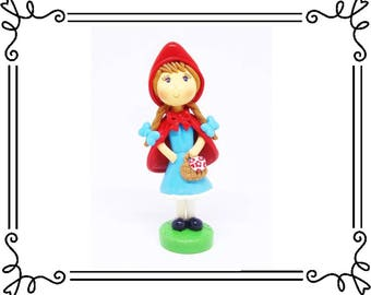 Cold Porcelain Clay Little Red Riding Hood Cake Topper, Little Red Riding Hood Figurine, Birthday Cake Topper, Keepsake, Gift, Collectible
