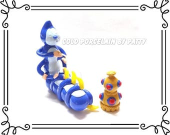 Cold Porcelain Clay Caterpillar & Hookah Figurine, Blue Caterpillar Cake Topper, Alice in Wonderland Birthday or Wedding Cake Topper