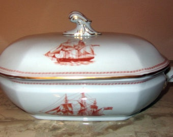 Spode Red Trade Winds W128 Large Soup Tureen with Lid