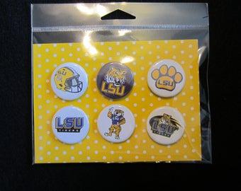 LSU Football Pin Bck Buttons, LSU Football Magnets, Pin Back Buttons, Magnets, Novelty Magnets, Novelty Pins, Louisiana, LSU