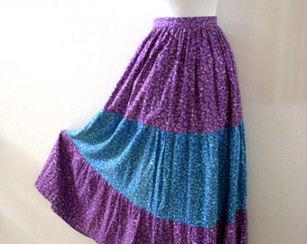 Vintage 60s 70s Blue and Purple Maxi Skirt with Metal Zipper - Flower Power Tiered Maxi Skirt - Boho Chic Festival Skirt - Small to Medium