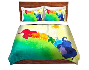 Elephant Rainbow Duvet Cover, colorful bedding, made to order