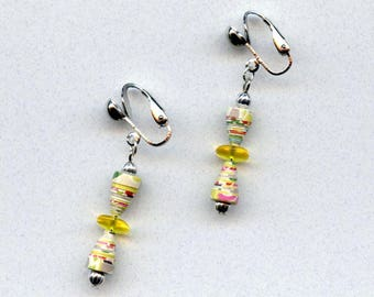 Clip on earrings paper beads yellow gray lightweight dangle silver