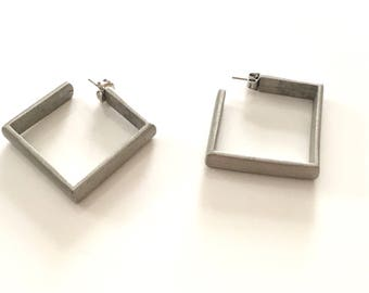 vintage hoop earrings - OPEN SQUARE brushed silver earrings