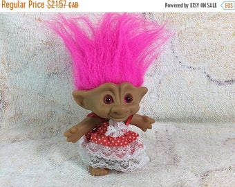 20% SALE Vintage Ace Novelty Co Jewel Belly Troll Doll 1990s Kids Toy Pink Hair Original Outfit Adorable