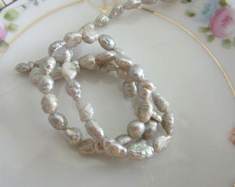 Fresh Water Pearls Silvery Grey Potato/Rice , 5 to 7mm. 2 x 8inch strands