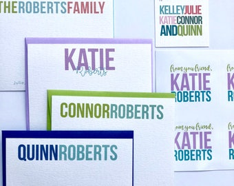 Family stationery Set, Notecards, Sticker and Tag Set, Custom Family Stationery, Custom Stickers, Personalized Paper Goods, Kids Stationery