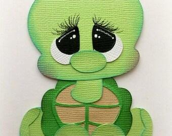 Adorable sitting turtle baby zoo animal premade paper piecing 3d die cut by my tear bears kira