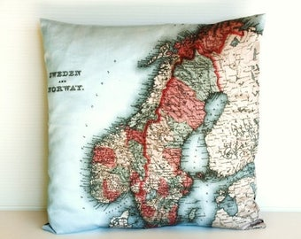 SALE SALE SALE Decorative map cushion Sweden & Norway map Organic cotton map cushion pillow, cushion cover, 16 inch