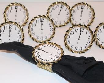 New Years Eve Clock Midnight Napkin Rings Set of 8