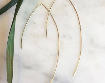 Gold filled Long Arc earrings