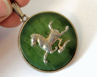 Green Agate Horse Pendant... c.1970s Rubbed Patina... For Repurpose