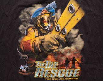 Fire Department to the Rescue T-Shirt, Firefighter, Vintage 80s, Awesome 50/50 Graphic Tee, M/L, 3D Emblem Style Art, Truck & Ladder