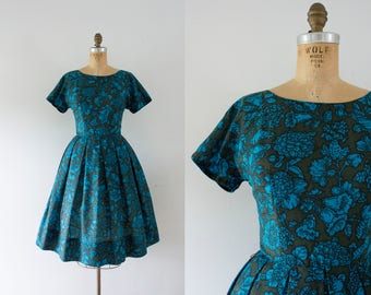1960s Teal Magnolia floral autumn dress / 60s fit 'n flare